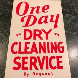"""Vintage 1950's """"One Day Dry Cleaning Service"""" Sign"""